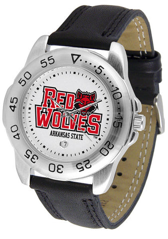 Arkansas State Red Wolves Men Sport Watch With Leather Band