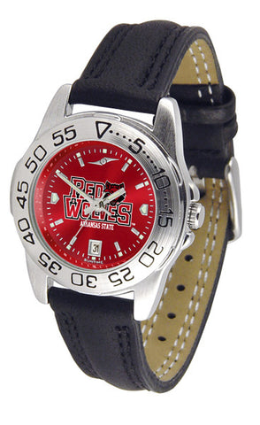 Arkansas State Red Wolves Ladies Sport Watch With Leather Band & AnoChrome Dial