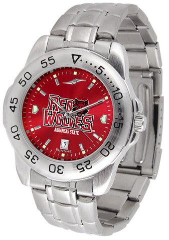 Arkansas State Red Wolves Men Sport Steel Watch With AnoChrome Dial
