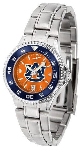 Auburn Tigers Ladies Competitor Steel Watch With AnoChome Dial, Color Bezel