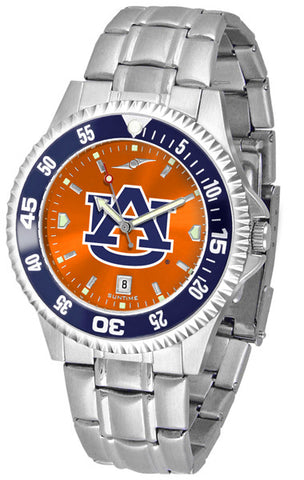 Auburn Tigers Men Competitor Steel Watch With AnoChome Dial, Color Bezel