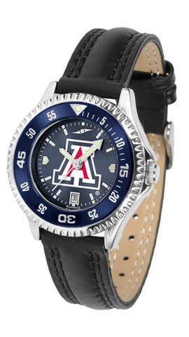 Arizona Wildcats Ladies Competitor Watch With AnoChome Dial, Color Bezel