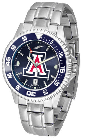 Arizona Wildcats Men Competitor Steel Watch With AnoChome Dial, Color Bezel