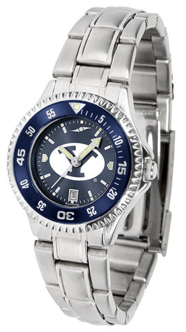 BYU Ladies Competitor Steel Watch With AnoChome Dial, Color Bezel