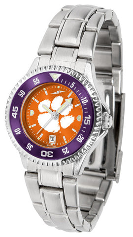 Clemson Tigers Ladies Competitor Steel Watch With AnoChome Dial, Color Bezel