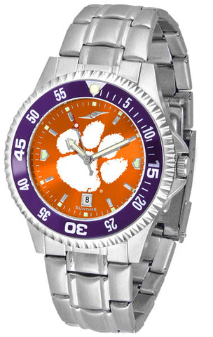 Clemson Tigers Men Competitor Steel Watch With AnoChome Dial, Color Bezel