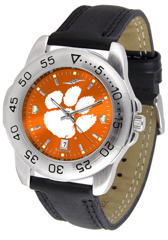 Clemson Tigers Men Sport Watch With Leather Band & AnoChrome Dial