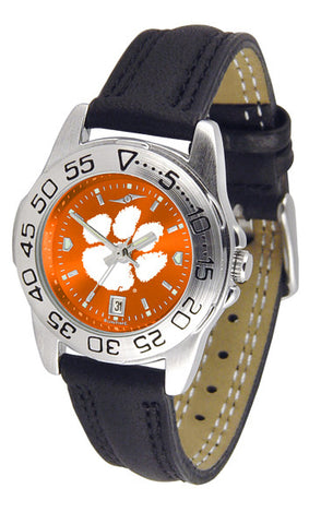 Clemson Tigers Ladies Sport Watch With Leather Band & AnoChrome Dial