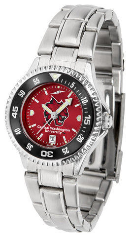 Ladies Central Washington Wildcats - Competitor Steel AnoChrome Watch - Color Bezel