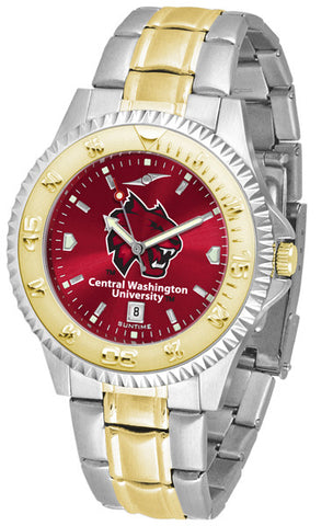 Central Washington Wildcats Men Or Ladies Competitor Two-Tone Watch With Anochrome Dial