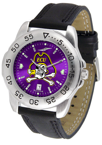 East Carolina Pirates Men Sport Watch With Leather Band & AnoChrome Dial