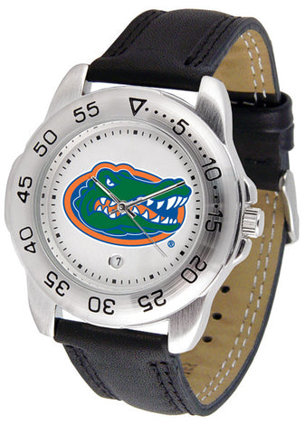 Florida Gators Men's Sport Watch With Leather Band And White Dial