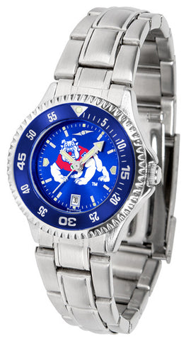 Ladies Fresno State Bulldogs - Competitor Steel AnoChrome Watch - Color Bezel