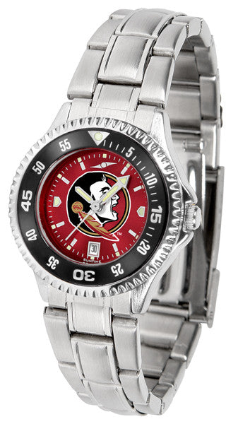 Florida State Seminoles Ladies Competitor Steel Watch With AnoChome Dial, Color Bezel