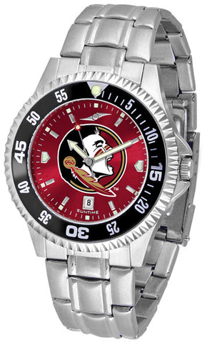 Florida State Seminoles Men Competitor Steel Watch With AnoChome Dial, Color Bezel