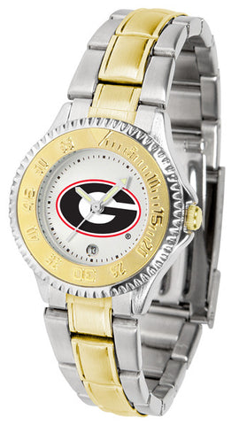 Georgia Bulldogs Ladies Competitor Two-Tone Watch With White Dial