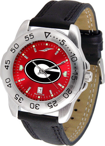 Georgia Bulldogs Men Sport Watch With Leather Band, With Red Dial