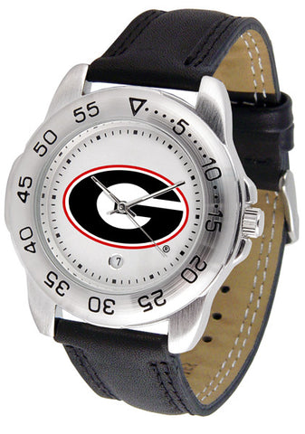 Georgia Bulldogs Men's Sport Watch With Leather Band, White Dial