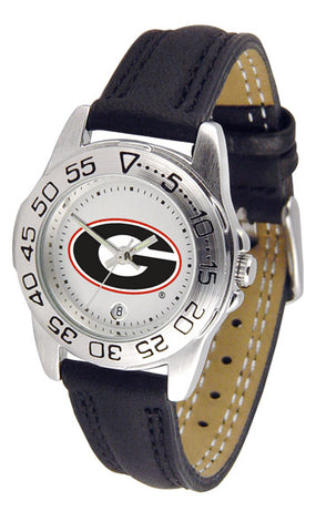 Georgia Bulldogs Ladies Sport Watch With Leather Band, White Dial