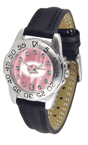 Georgia Bulldogs Ladies Sport Watch With Leather Band, Mother Of Pearl Dial