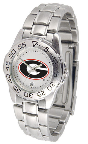 Georgia Bulldogs Ladies Sport Steel Watch White Dial