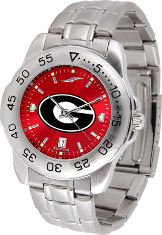 Georgia Bulldogs Men's Sport Steel Watch With Red Dial