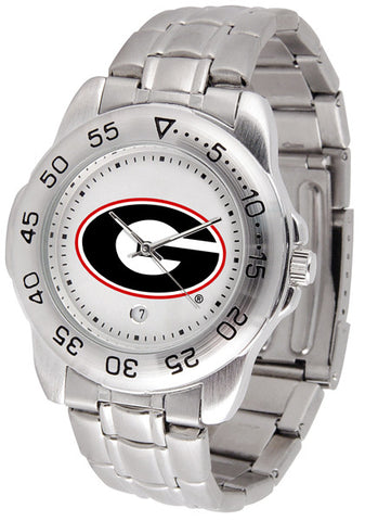 Georgia Bulldogs Men's Sport Steel Watch With White Dial