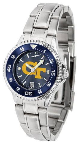 Ladies Georgia Tech Yellow Jackets - Competitor Steel AnoChrome Watch - Color Bezel