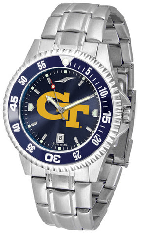 Mens Georgia Tech Yellow Jackets - Competitor Steel AnoChrome Watch - Color Bezel