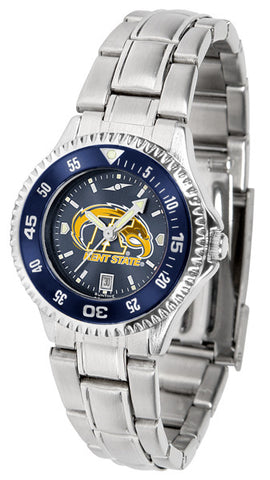 Ladies Kent State Golden Flashes - Competitor Steel AnoChrome Watch - Color Bezel
