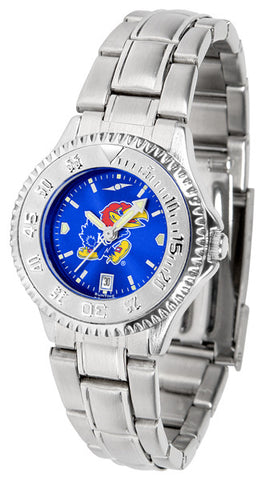 Kansas Jayhawks Ladies Competitor Steel Watch With AnoChome Dial