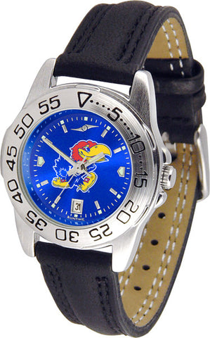 Kansas Jayhawks Ladies Sport Watch With Leather Band & AnoChrome Dial