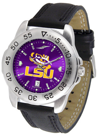 LSU Tigers Men Sport Watch With Leather Band & AnoChrome Dial