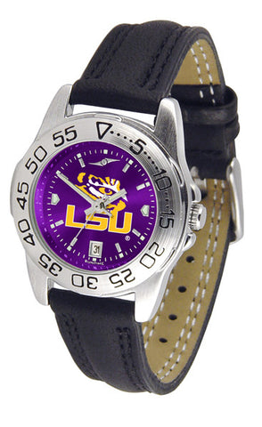 LSU Tigers Ladies Sport Watch With Leather Band & AnoChrome Dial