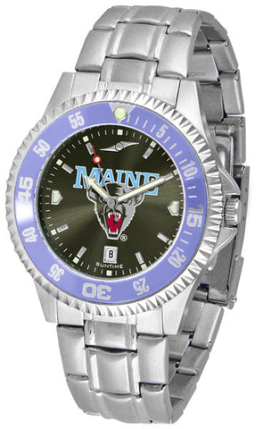 Mens Maine Black Bears - Competitor Steel AnoChrome Watch - Color Bezel