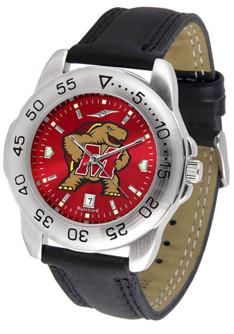 Maryland Terrapins Men Sport Watch With Leather Band & AnoChrome Dial