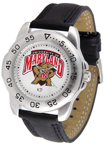 Maryland Terrapins Men Sport Watch With Leather Band