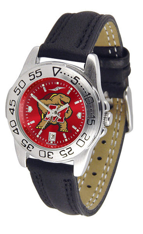 Maryland Terrapins Ladies Sport Watch With Leather Band & AnoChrome Dial