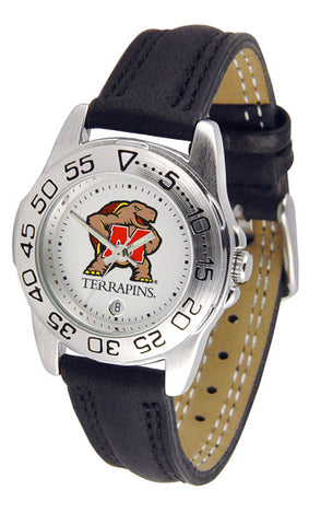 Maryland Terrapins Ladies Sport Watch With Leather Band