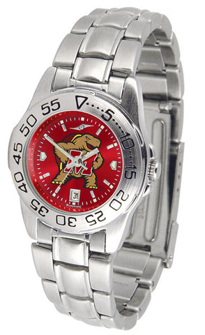 Maryland Terrapins Ladies Sport Steel Watch With AnoChrome Dial