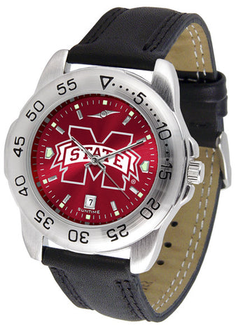 Mississippi State Bulldogs Men Sport Watch With Leather Band & AnoChrome Dial