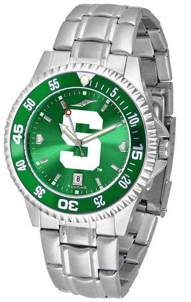 Michigan State Spartans Men Competitor Steel Watch With AnoChome Dial, Color Bezel