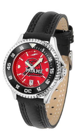 Ladies Miami Univ. Redhawks - Competitor AnoChrome Watch - Color Bezel