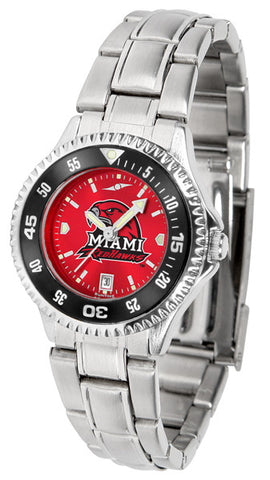 Ladies Miami Univ. Redhawks - Competitor Steel AnoChrome Watch - Color Bezel