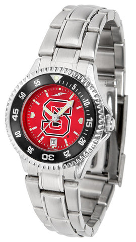 Ladies North Carolina State Wolfpack - Competitor Steel AnoChrome Watch - Color Bezel