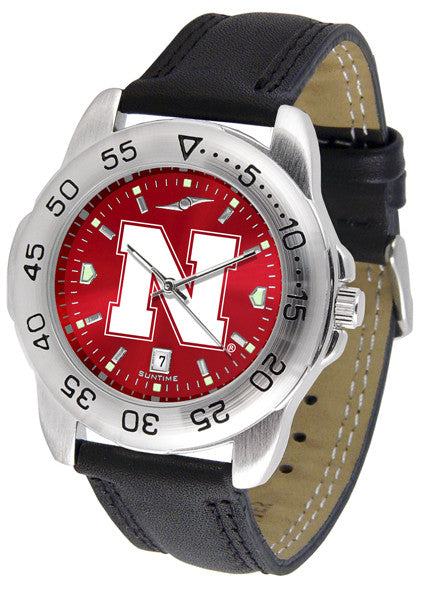 Nebraska Cornhuskers Men Sport Watch With Leather Band & AnoChrome Dial