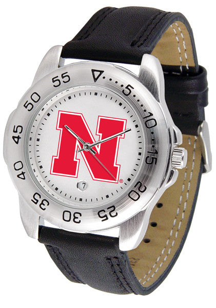 Nebraska Cornhuskers Men Sport Watch With Leather Band