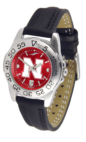 Nebraska Cornhuskers Ladies Sport Watch With Leather Band & AnoChrome Dial