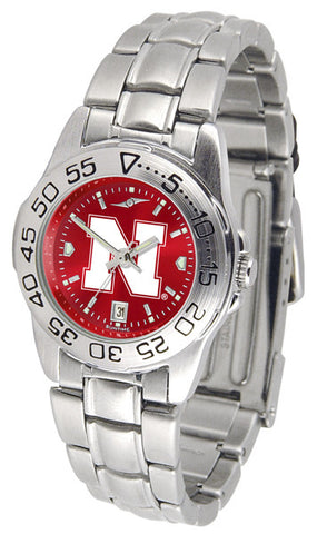Nebraska Cornhuskers Ladies Sport Steel Watch With AnoChrome Dial