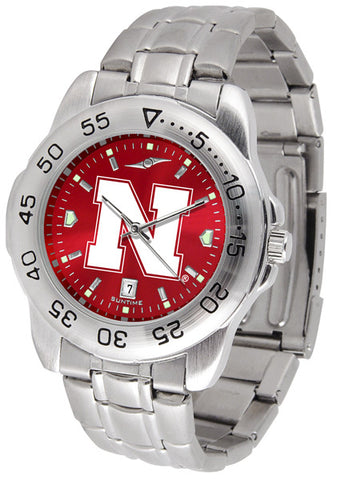 Nebraska Cornhuskers Men Sport Steel Watch With AnoChrome Dial